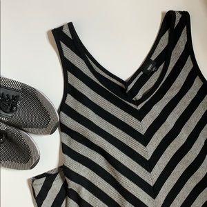Midi dress, gray and black stripes.